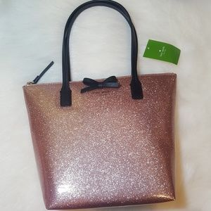 NWT Kate Spade Rose Gold Glitter Tote